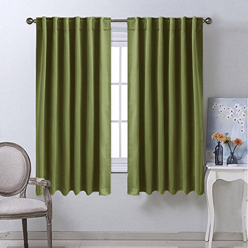 NICETOWN Bedroom Curtains Blackout Draperies Panels - (Olive Green) 52
