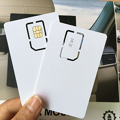 AHongem Writable Programmable Blank SIM USIM Card 4G LTE WCDMA GSM Nano Micro SIM Card 2FF 3FF 4FF for Telecom Operator (2-piece)