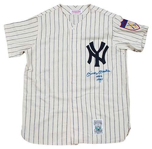 - Mickey Mantle Autographed Jersey - Incredible No 6 Inscribed NY Rookie - PSA/DNA Certified - Autographed MLB Jerseys