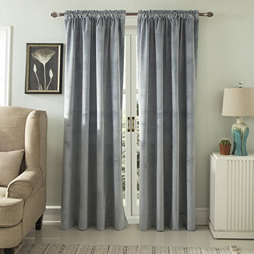 Comforhome Solid soft velvet window curtain Rod Pocket Drapes Light Slate Gray 52