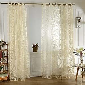 Anself 2pcs 100* 250cm alta calidad diseño moderno mitad sombreado puertas y ventanas divisor de cortina con cuentas gasa Decoración de pared, beige