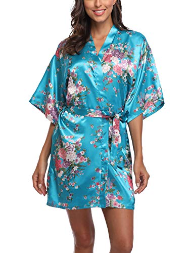 UrHot Women's Short Kimono Robe Bridesmaid Satin Floral Wedding Robe Sleepwear Blue