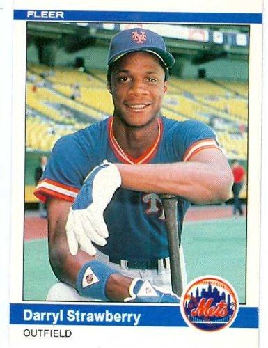 Darryl Strawberry baseball card 1984 Fleer #599 (New York Mets) rookie card