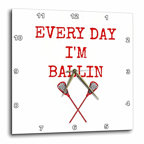 3dRose Every Day Im Ballin, Lacrosse Sticks Picture, Red Lettering - Wall Clock, 15 by 15-Inch (dpp_172356_3)