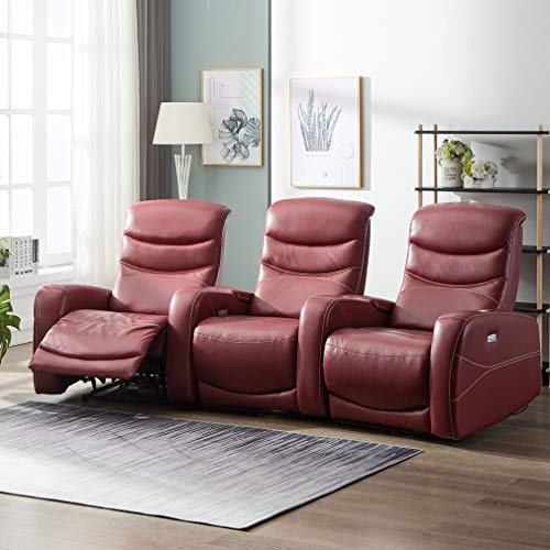 Power Sofa Recliner Sofa Home Theater Seating Reclining Theater Recliner Sectional Sofa with Cup Holders and ()