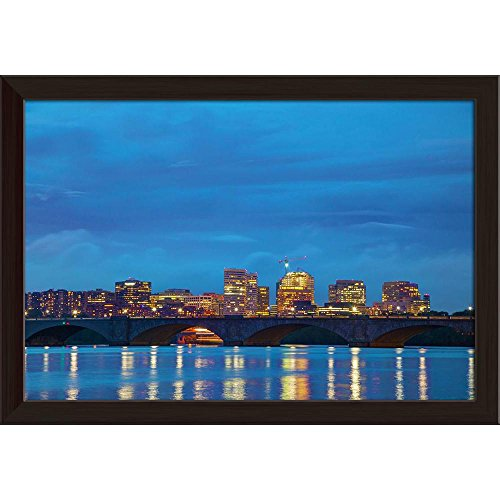 (Pitaara Box Dc Cityscape at The Night Time, Washington, USA Canvas Painting Dark Brown Frame 23.5 X 16Inch)