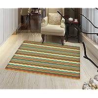 Chevron Anti-Skid Area Rug Horizontal Zig Zag Stripes in Geometric Abstract Waves Pattern Floor Mat Pattern 24x36 Multicolor