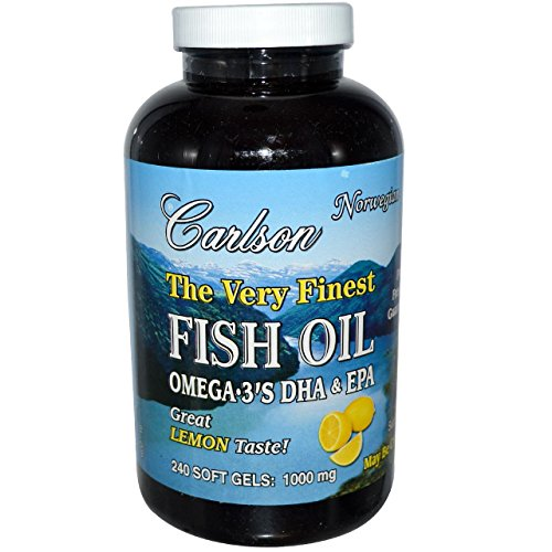 Carlson Labs Very Finest Fish Oil, Lemon, 1000mg, 240 Softgels (Pack of 3) , Carlson-4hhy by Carlson Laboratories
