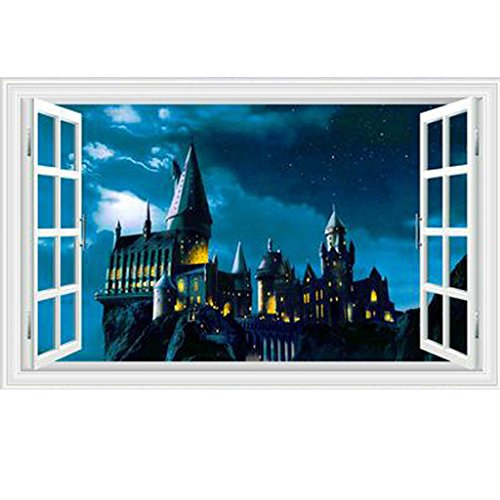 Fangeplus R DIY Removable Harry Pot Magic College Castle Landscape 3D False Window Art Mural Vinyl Waterproof Wall Stickers Kids Room Decor Nursery Decal Sticker Wallpaper 23.6''x35.4'' for $<!--$16.99-->
