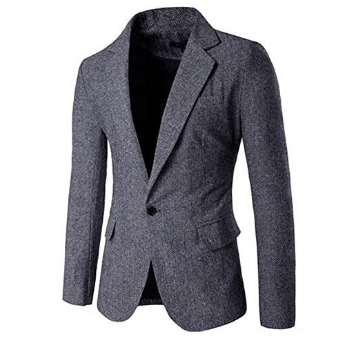 JINSEY Men's One Button Donegal Sport Coat - Grey XL (Tweed Fitted Blazer)