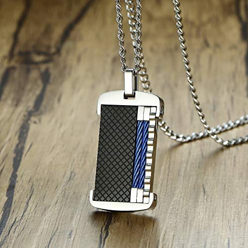Unlimit-X Dog Necklace - Esquire Gents Black Grid Blue Cable Inlayed on Stainless Steel Dog Tag Pendant Necklace for Men Stylish Decorate Male Jewelry