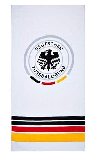 Gold Logo WM 2018 Weltmeisterschaft Fanartikel DFB Offizielles Strandlaken//Badetuch Deutschland 70 x 140 cm Schwarz Rot