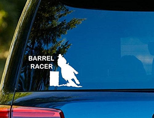 Barrel Racer Spurs (T1210 Barrel Racer Horse Decal Sticker - 4.00