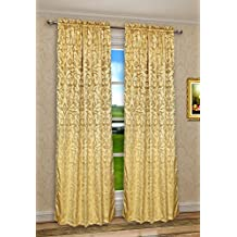 CaliTime Vintage Damask Floral Window Curtain Panel 56 X 90 Inches Heavy Thick Gold Color