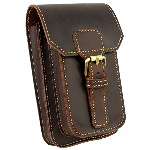 LXFF Mens Genuine Leather Small Hook Waist Bag Belt Pouch Fanny Pack for Cell Phone (Coffee - B)