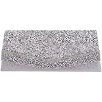 Naimo Flap Dazzling Clutch Bag Evening Bag with Detachable Chain (Silver)