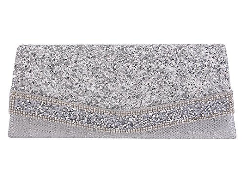 Clutch Bag Evening Bag With Detachable Chain (Silver) (Silver Evening Handbag)