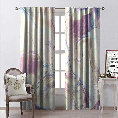 Sturbridge Light 6 (Hengshu Marble Room Darkening Wide Curtains Vintage Antique Ottoman Art Forms Faded Blurry Colors Picture Waterproof Window Curtain W108 x L84 Cream Dried Rose Light Blue)