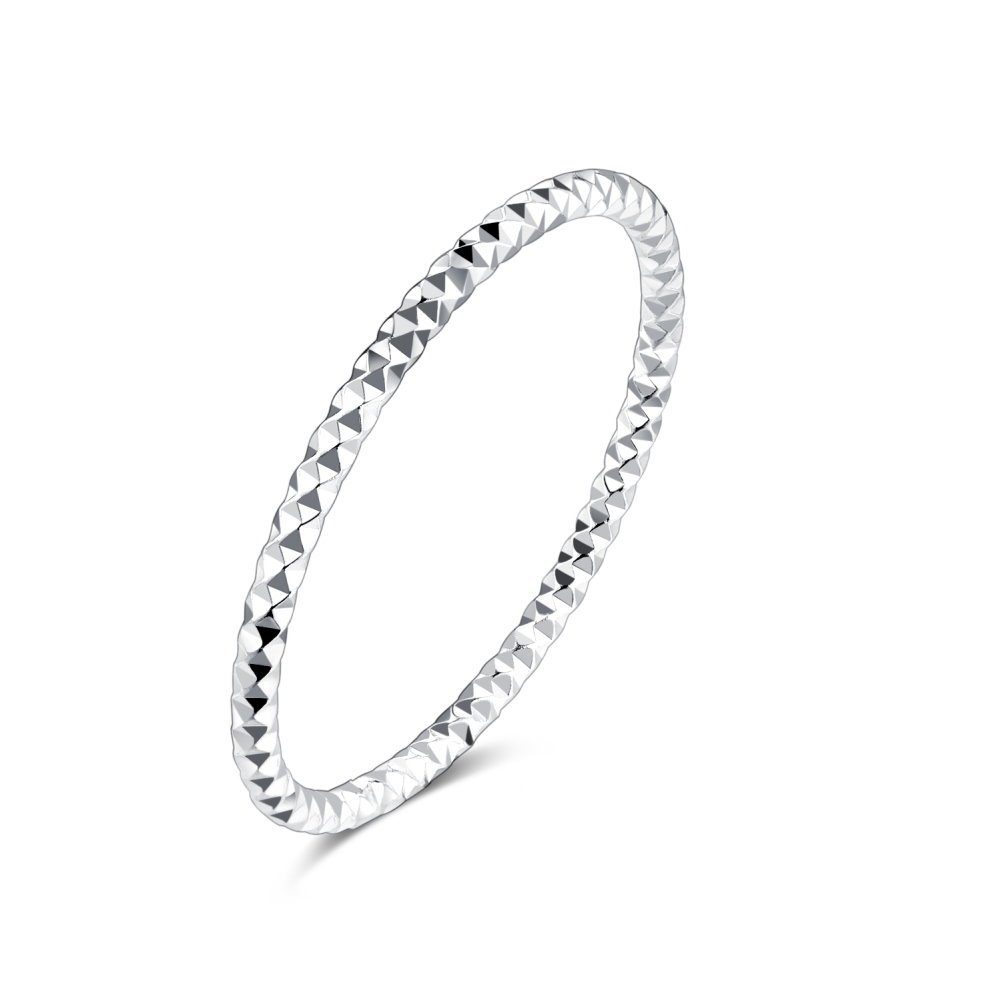 1.3mm Sterling Silver 925 Stacking Band Ring Midi Thin Above Knuckle Finger Toe Rings for Women Girls Men Kokoma