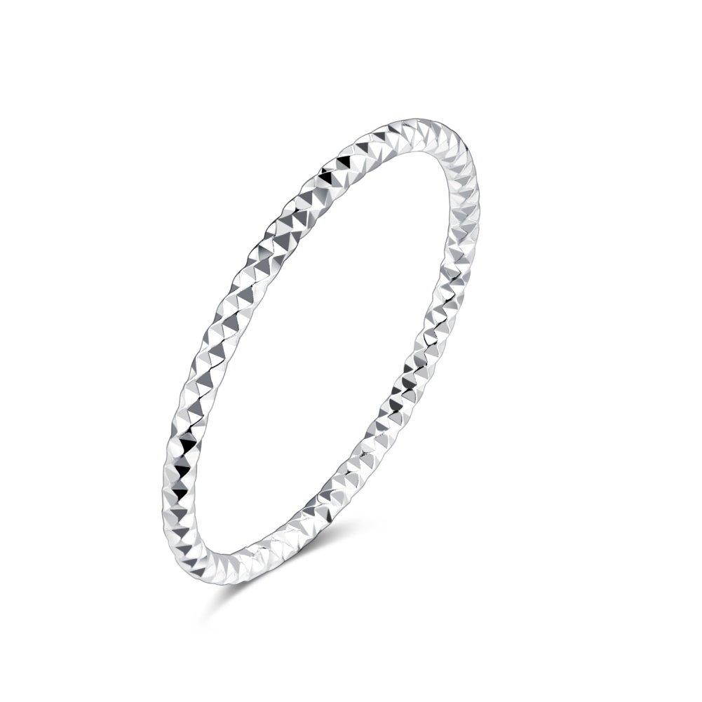 1.3mm Sterling Silver 925 Stacking Band Ring Midi Thin Above Knuckle Finger Toe Rings for Women Girls Men Kokoma