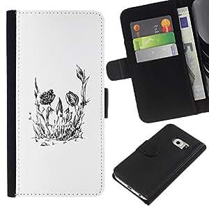 LECELL--Cuero de la tarjeta la carpeta del tirón Smartphone Slots Protección Holder For Samsung Galaxy S6 EDGE -- Cráneo floral de la flor --