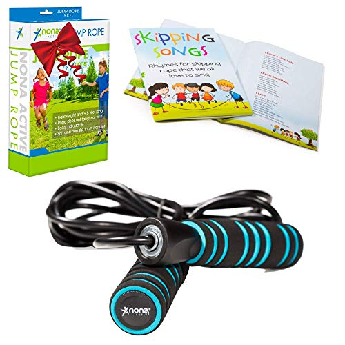 - Nona Active Adjustable Jump Rope - for Kids and Adults - with Anti-Slip Handles and Smooth Rotation - Plus Skipping Songbook - Plus 2 Bonuses