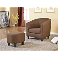 US Pride Furniture Isabella Fabric Accent Chair and Ottoman, 28.5 x 30 x 29/17 x 17 x 15.5, Brown