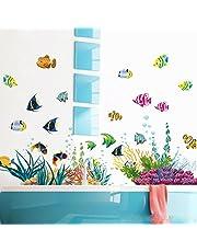 WandSticker4U XL zelfklevende wandtatoeages stickers wanddecoratie foto's babykinderkamer jonge meisjes badkamer kampemmer kleurrijk blauw muurtegelstickers decoratie onderwaterwereld vissen walvis zee