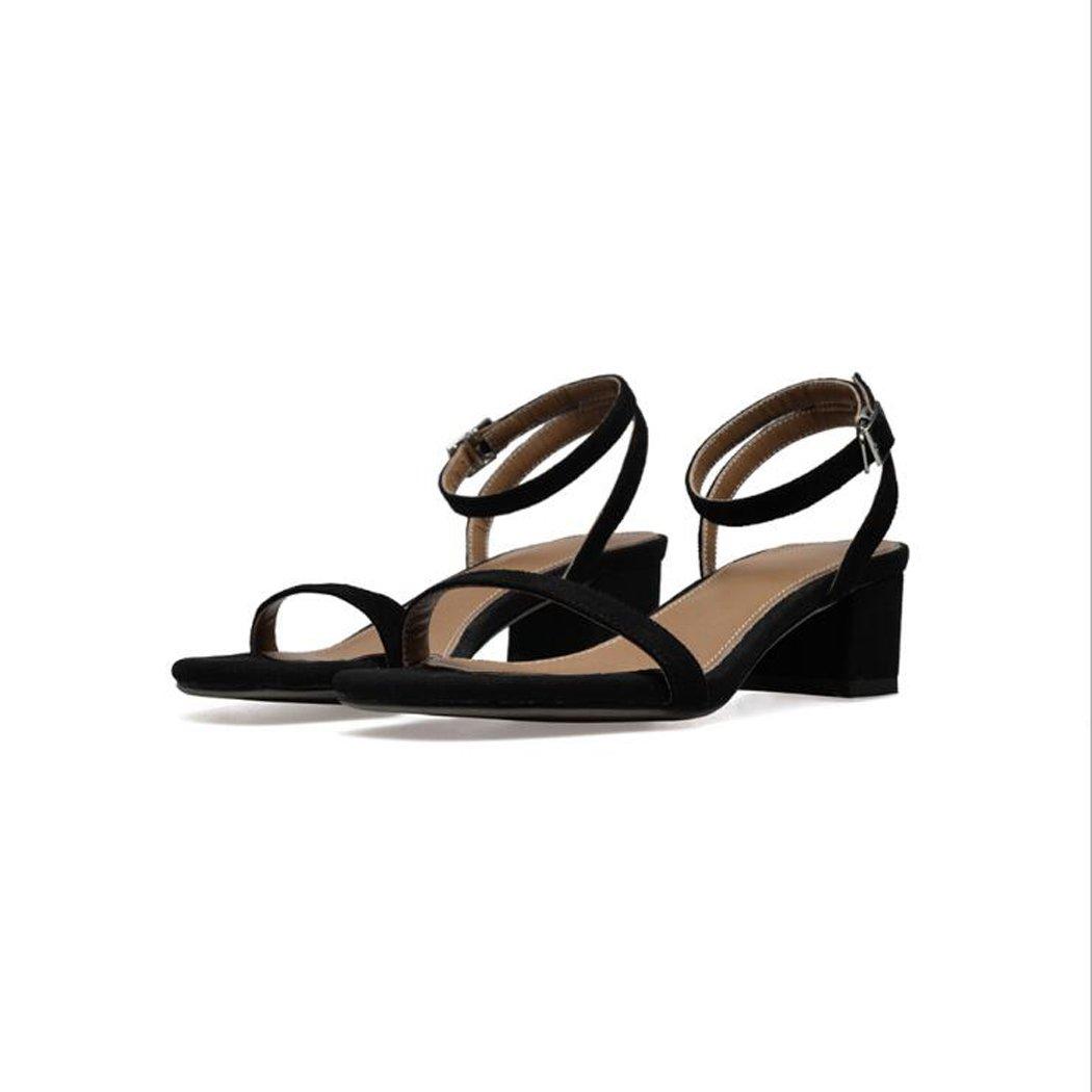 ZZZJR Frauen Sommer Cool Button Sandalen Offen-Toed Frauen Einfache Knouml;chelriemen Medium Thick Schuhe Mary Jane Sandalen  37|Schwarz