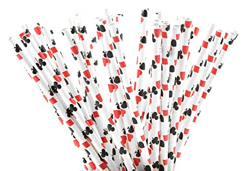 FiveSeasonStuff 100 Pack 100% Biodegradable Paper Drinking Straws for Weddings, Birthdays, Showers, Christenings, Engagements, Graduation, New Years (White | Spades | Hearts | Diamonds | Clubs)