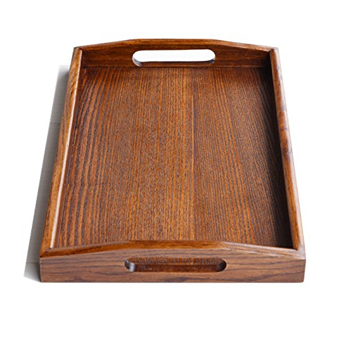 Kidcia Wooden Tray With Handle Serving Tray/Decorative Trays/Wooden serving Platters For Easy Arrangement Wood Tray Thanks Giving or Christamas Gift Interior Decoration-Brown(14.2x9.1x1.6'')