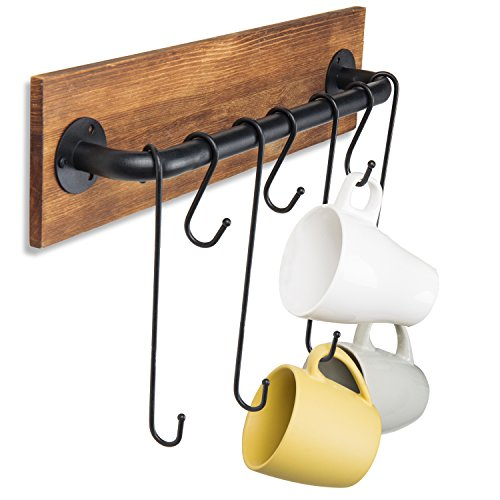 Rustic Metal Wall Hooks - MyGift 7-Hook Rustic Wood & Metal Wall-Mounted Cup Rack