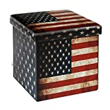B FSOBEIIALEO USA Flag Storage Ottoman Cube, Faux Leather Folding Storage Boxes Toy Chest Footrest Coffee Table 12.6″X12.6″X12.6″