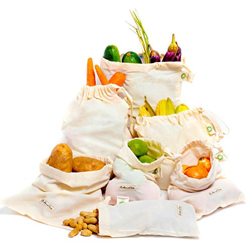 (Reusable Produce Bags - Produce Bags - Organic Cotton Produce Bags - Muslin Bags (1, 2 Medium, 3 Small, 2)