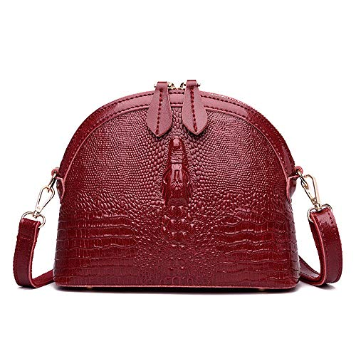 Crossbody Bags for Women Handbags Crocodile Pattern Women Messenger Bag Small Shoulder Bag Genuine Leather,Red