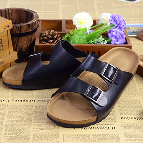 Sandals Comfort Flip Leather Mens Sandals Mules Unisex Flops Women's Black Cork Iqw7CYY