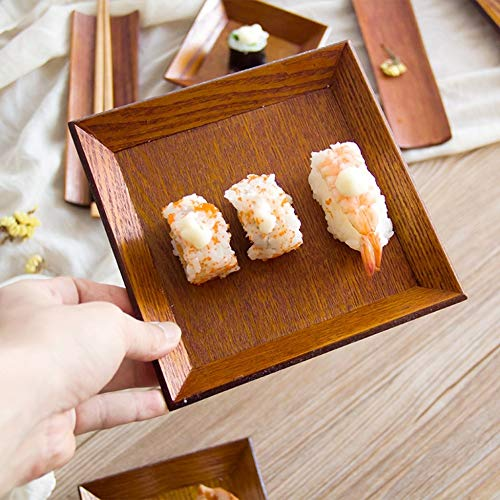Loune Week square plates Square Wooden Dish Plate Snack Dried Fruit Dessert Sushi Cake Tableware For Home Cafe Bakery Hotel Restaurant -