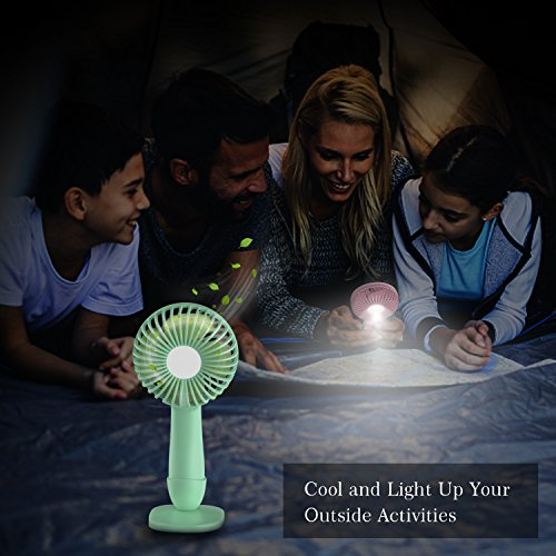 XttnBM Small Personal Desk Fan with 3-Speed and LED Lamp Portable Mini Cooling and Light for Outdoor Camping Travel Home Dorm Office Kids Rechargeable Battery Operated or Powered by USB Port (Green) by XttnBM (Image #5)