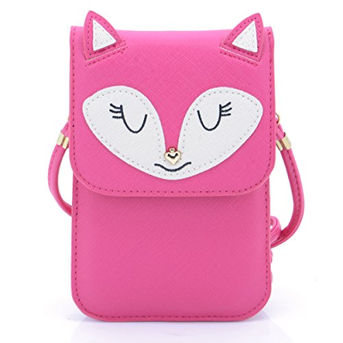 UTIMES Universal Multipurpose Small Cute Cartoon Fox Pattern Synthetic Leather Crossbody Shoulder Purse 6 inch Cell Phone Wallet Pouch01Rose Red