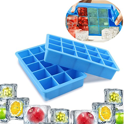 Ice Cube Trays,LC-dolida FDA Food Grade Silicon Ice maker mold , Keep Drink Cool and Easy Release, 15 Ice Molds(x2), Pack 2