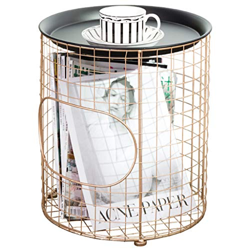 (Living Room Decoration Toy Clothes Finishing Basket Wrought Iron Storage Basket Home Decoration Design (Color : Gold, Size : 3539cm/1415inch))