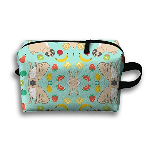 SO27Tracvel Pugs Summer Mint Fruits Toiletry Bag Dopp Kit Tactical Bag Accessories Travel Case