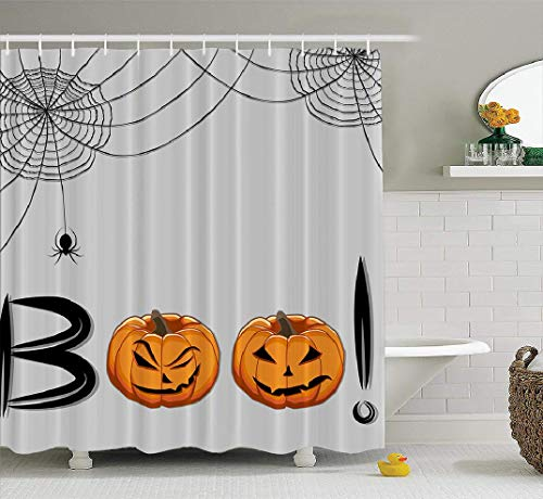 Boo Flyers Halloween (LILYMUA Halloween Shower Curtain, Abstract Children Holiday Halloween Boo Pumpkin Pattern Fabric Bathroom Shower Curtain Polyester Bath Curtain Fashion Beautiful Waterproof Bathroom 72x78)
