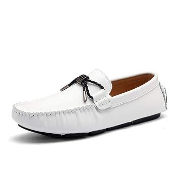 Xiazhi-shoes, Mocasines para Hombres Confortable mocasín de conducción, talón Plano Resbalón de