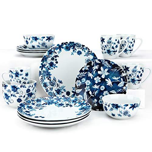 ZYAN 16 Piece Round Dinnerware Sets, Blue Garden Stoneware Dish Set, Dishwasher Safe Plates and Bowls Sets for 4