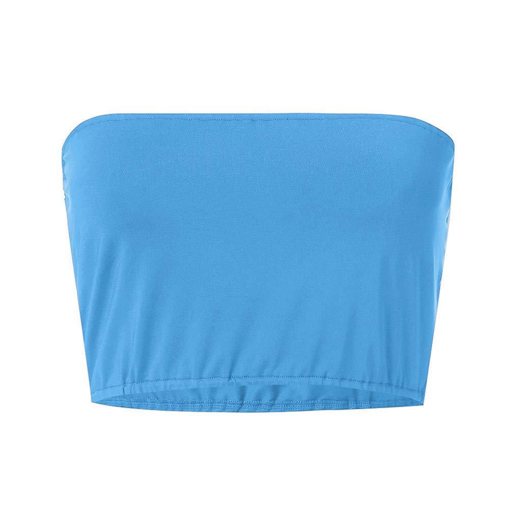 Fenverk Damen T-Shirt Sommer Bauchfrei Tr/äGerlos Crop Tops Oberteile Bluse Tight Top Rundhals T-Shirts Sport Dance Kurz Tank