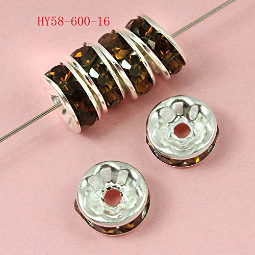 100 Pcs Swarovski Crystal Rondelle Spacer Bead Silver Plated 6mm (Smoked Topaz)