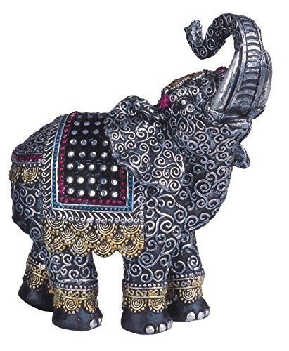 Small Elephant Figurine - Black Thai Elephant with Trunk Raised Collectible Figurine Statue