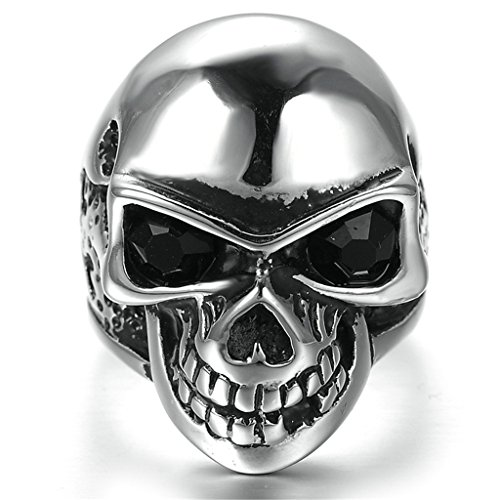 - Gnzoe Men Stainless Steel Ring, Retro Classic Skull Punk Gothic Rings with Black Zircon, Silver, Size 9