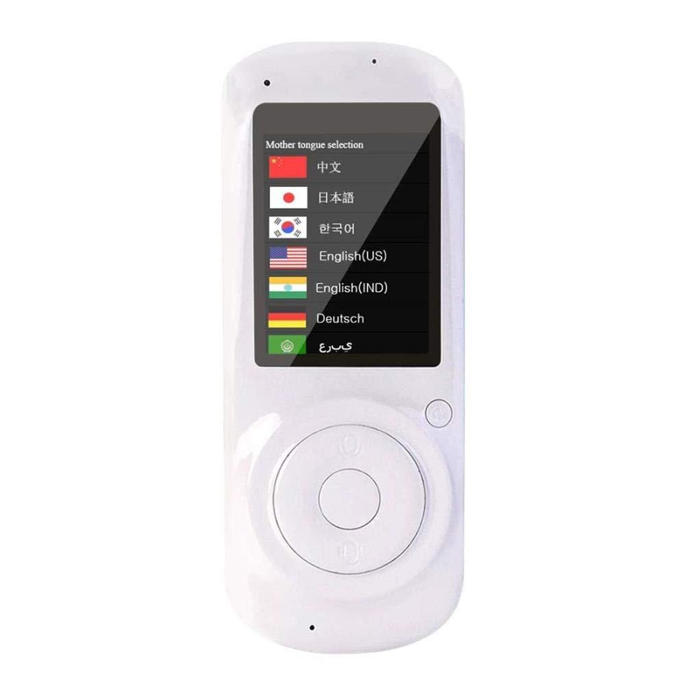 タッチスクリーンの理性的な音声翻訳装置、小型手持ち型の同時対面言語翻訳観光事業の学習のための、英語、中国語、フランス語、スペイン語、ドイツ語 (色 : 白)  白 B07QF5ZRWF